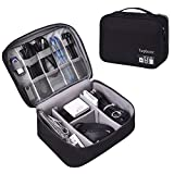 Travel Gadgets Organizer Bag, Universal Electronic Accessories Cable Bag Portable Gear Storage Carrying Cover for Cords SD Memory Cards Earphone Hard Drive (L, Fancy-Black)