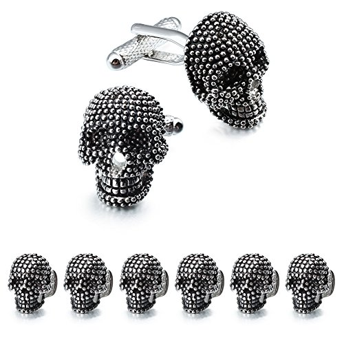 HAWSON Skull Black Cufflinks and Dress Shirt Studs Set for Tuxedo Party Accessories -