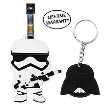 DIYJewelryDepot Stormtrooper Darth Vader Star Wars Luggage Travel Tags + Keychain