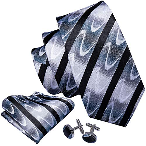 Barry.Wang Black and White Stripe Tie Set Woven Silk Neckties,Black 6,One Size
