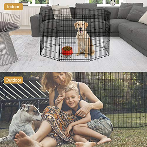 42-Black Tall Dog Playpen Crate Fence Pet Kennel Play Pen Exercise Cage -8 Panel by BestPet (Image #2)