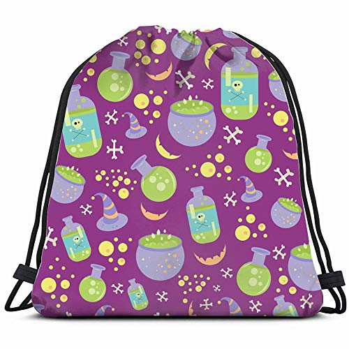 Halloween Consisting Cauldron Poison Background Holidays Drawstring Backpack Bag For Kids Boys Girls Teens Birthday, Gift String Bag Gym Cinch Sack For School And Party]()