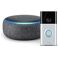 Ring Video Doorbell with Echo Dot (3rd Gen) Charcoal Fabric Bundle