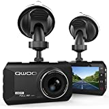 Dash Cam, QWOO Dash Camera 3 LCD Car Dashboard Camera Vehicle Video Recorder with Full HD 1080P, 170 Degree Wide-Angle 3.8X Zoom, G-Sensor, Night Vision, WDR, Loop Recording, 24 Hours Parking Monitor