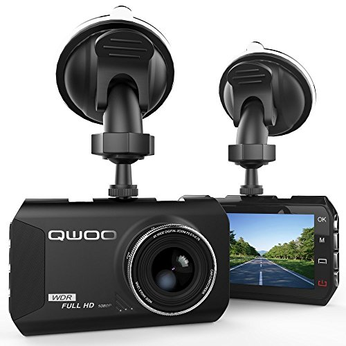 Dash Cam, QWOO Dash Camera 3″ LCD Car Dashboard Camera Vehicle Video Recorder with Full HD 1080P, 170 Degree Wide-Angle 3.8X Zoom, G-Sensor, Night Vision, WDR, Loop Recording, 24 Hours Parking Monitor
