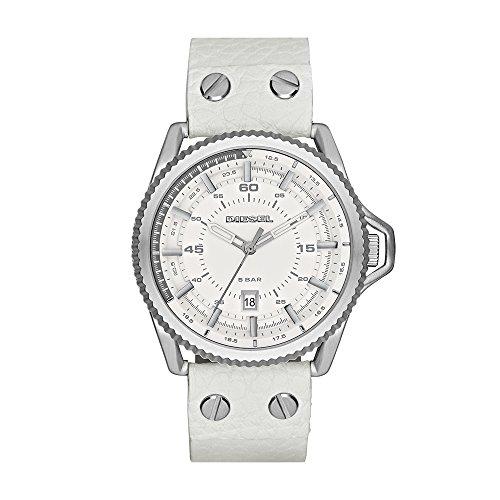 (Diesel Men's DZ1755 Rollcage  Stainless Steel White Leather Watch)