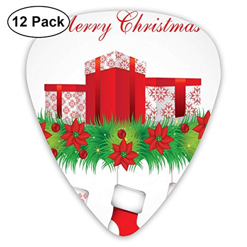 (Guitar Picks - Abstract Art Colorful Designs,Stockings Hanging For Santa Mistletoe Illustration Merry Christmas For All,Unique Guitar Gift,For Bass Electric & Acoustic Guitars-12)