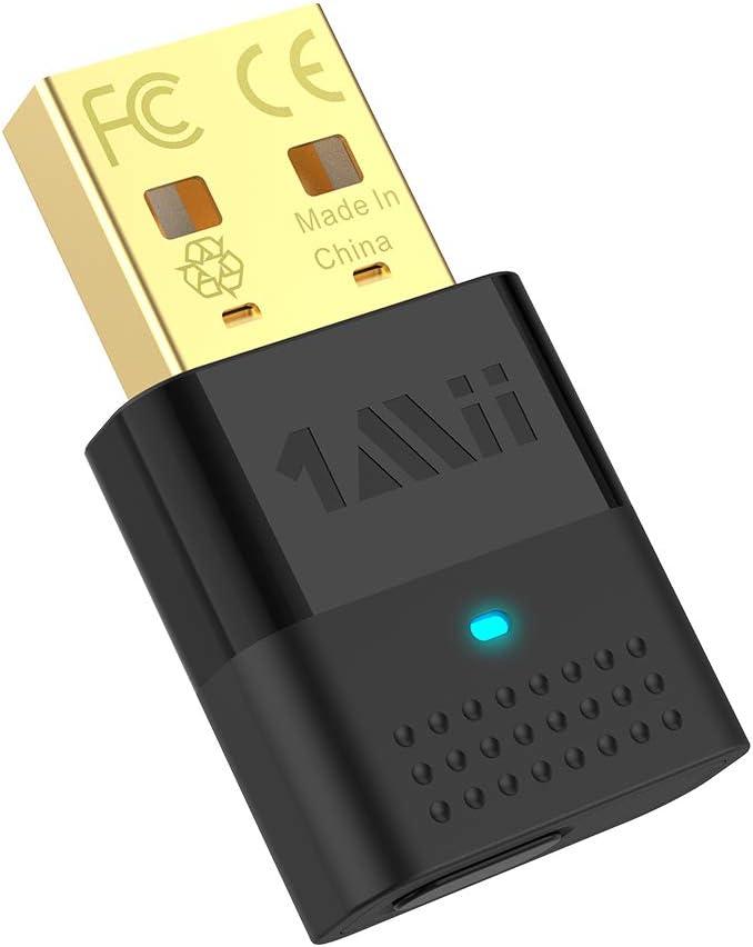 1Mii USB Bluetooth Adaptador para PC Bluetooth 5.0 Audio Sender, USB Audio Adapter Dual conexión con APTX baja latencia & APTX HD, Bluetooth Dongle para dispositivos de audio como Xbox PS4 auriculares