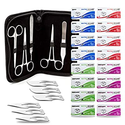 Sterile Sutures Thread with Needle + Tools for First Aid Field Emergency, Practice Suture Kit; Taxidermy; Medical, Nursing and Vet Students (16 Mixed Suture 0, 2-0, 3-0, 4-0 w 12 Tools - 28 PK Total)