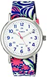 Timex Women's TW2P90200 Weekender Reversible Blue Swirl Nylon Slip-Thru Strap Watch