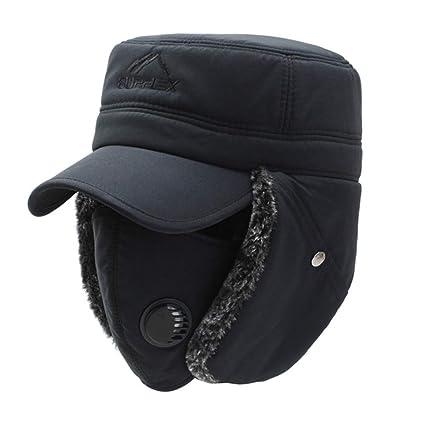 Winter Ear Flap Berretto da sci antivento unisex Trooper cappello caldo  spessa passamontagna con paraorecchie maschera b89232d71ea3