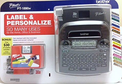 Brother P-touch Label Maker PT-1890w with BONUS Supplies (Best Rated Label Maker)