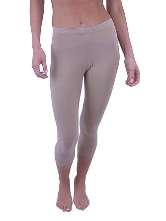 5483c5b272281 Vivian's Fashions Capri Leggings - Cotton, Lace Trim, Junior Size (Beige,  Small