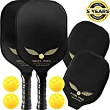 Pickleball Paddle Set of 2 - Graphite Pickleball Racket + 4 Pickle Balls - Composite Fiberglass Pickleball Paddles Bundle Honeycomb Core Pickle Ball Racket - Best Pickleball Racquet Game Sets + Cover