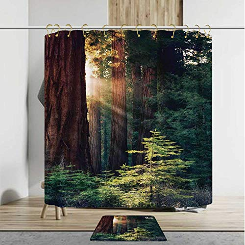 - YOLIYANA National Parks Home Decor Soft Shower Curtain Set with Rug,Morning Sunlight in Wilderness Yosemite Sierra Nevada Nature Art,48''Wx72''H Shower Curtain+20''Wx31''L Rug