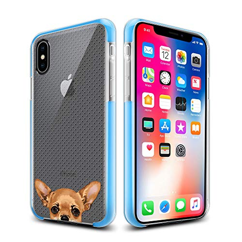 (FINCIBO Case Compatible with Apple iPhone X XS 5.8 inch, Clear Dot Matrix Bumper Hybrid TPU Protective Cover Case for iPhone X XS - Fawn Apple Head Chihuahua Dog)