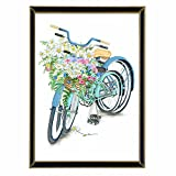 Handser 5D Diamond Art Stitch Full Drill Bicycles Flowers Rhinestone Embroidery Cross Stitch Painting Arts Craft Supply for Wall Decoration (Picture Size:11.8x15.7inch)