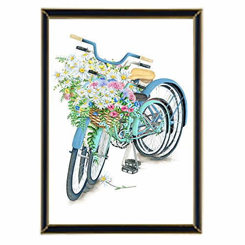 Handser 5D Diamond Art Stitch Full Drill Bicycles Flowers Rhinestone Embroidery Cross Stitch Painting Arts Craft Supply for Wall Decoration (Picture Size:11.8x15.7inch) by Handser
