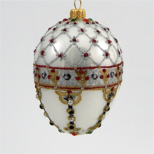 Faberge Inspired -Renaissance Pearl Egg - Polish Mouth Blown Glass Christmas Ornament