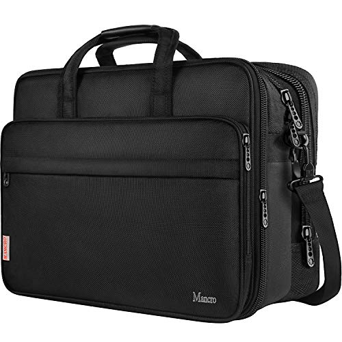 17 inch Laptop Bag, Large Business Briefcase for Men Women, Travel Laptop Case Shoulder Bag, Waterproof Carrying Case Fits 15.6 17 inch Laptop, Expandable Computer Bag for Notebook, Ultrabook ()
