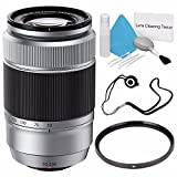Fujifilm - XC 50-230mm f/4.5-6.7 OIS Lens (Silver) + 58mm UV Filter + Lens Cap Keeper + Deluxe Cleaning Kit 6Ave Saver Bundle