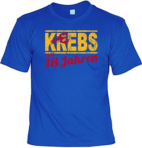 T-Shirt - Sternzeichen-Shirt Krebs seit 18 Jahren - das besondere Shirt mit lustigem Print als ideales Geburtstagsgeschenk für junge Leute mit Humor