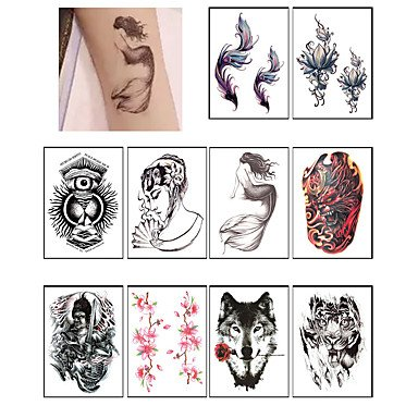 Discount 10PCS Waterproof Wolf Tattoo TemporaryBody Arm Art Temporary Tattoo Stickers Party Fake Tattoo Body Art Paster Makeup for sale