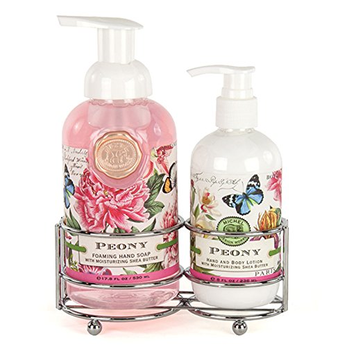 Michel Design Works Foaming Hand Soap and Lotion Caddy Gift Set, Peony - Lotion Caddy Set
