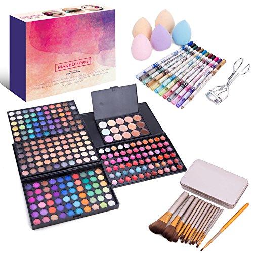 MakeUpPro - 291-teiliges Pflegeset mit 180 Farben, Make-up, Lidschatten, Schimmerpalette, 66 Farben Lipgloss-Palette, 12 Glitzerfarben für Augen und Liplinerstiften, 12-teilige Makeup-Bürsten, 15 Farben Concealer, 5 Make-up Tränenschwämme + professionelle Wimpernwickler