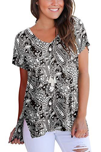 (Women Tops and Blouses Short Sleeve V Neck Printed T Shirts Black Flower M)