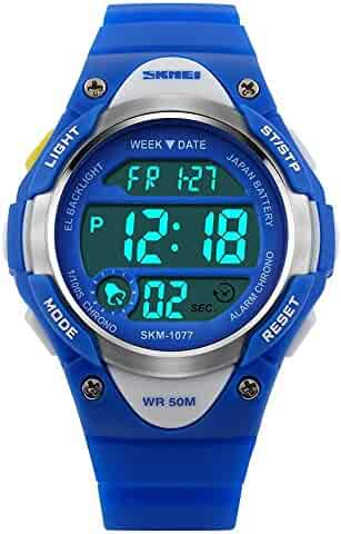 Children Watch Outdoor Sports Kids Boy Girls LED Digital Alarm Waterproof Wristwatch Blue
