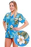 Funky Hawaiian Blouse, Smallflower, lightblue, XS