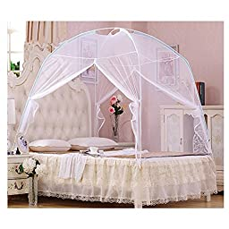 Portable Lace Folding Yurt Double Door Mosquito Nets Canopy white 3-door 150 * 200cm