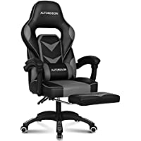Alfordson Gaming Racing Chair Home Executive Sport Office Chair PU Leather with Footrest in Grey Colour