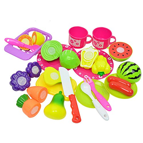 (Kanzd Kids Pretend Role Play Kitchen Fruit Vegetable Food Toy Cutting Set Gift (A))