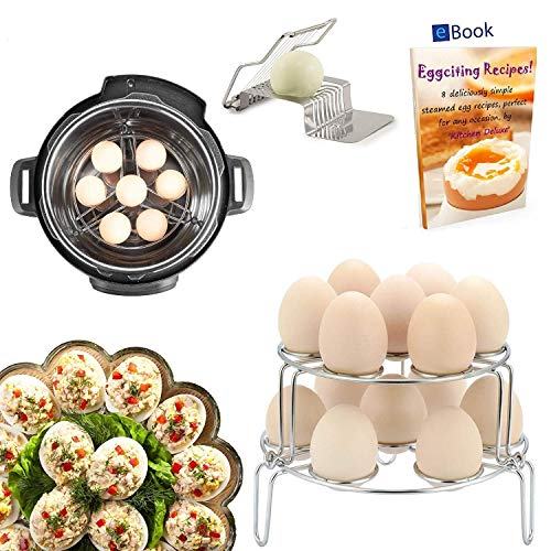 PREMIUM Egg Rack Steamer - 14 Eggs - STACKABLE 2-Tier - BEST Bundle - Fits Instant Pot Pressure Cooker 6 Qt & 8 Quart - 100% Stainless Steel - BONUS Accessories - Slicer + eBook | For Instapot -Insert
