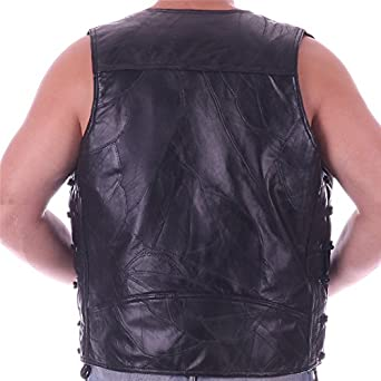 Diamond Plate Mens Rock Design Genuine Sheepskin Leather Vest W// 14 Patches