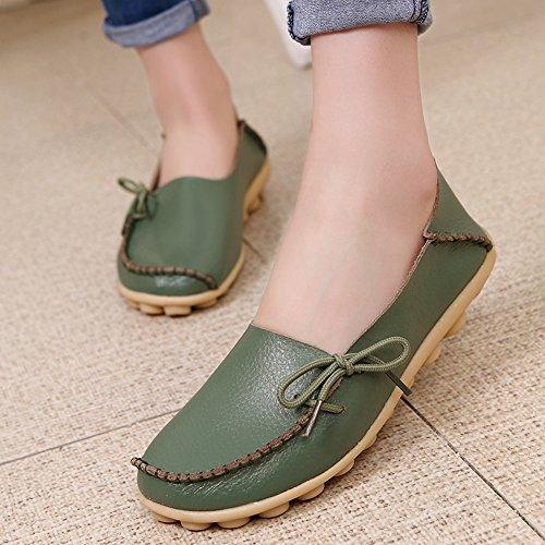 quality design 617a4 71857 ... Lucksender Femmes Cuir De Vachette Chaussures À Lacets Cuir Mocassins  Chaussures De Bateau Vert Armée ...