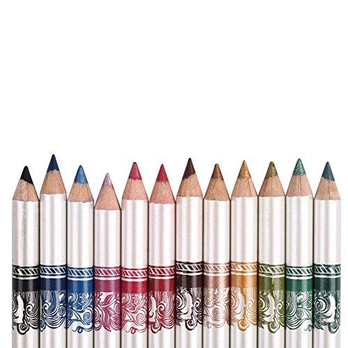 YYF 12 PCS Colorful Eyeliner Pen Waterproof Shadow Eyeliner Eyebrow Liner Pencil Pen Makeup Cosmetic Set Kit Tool -