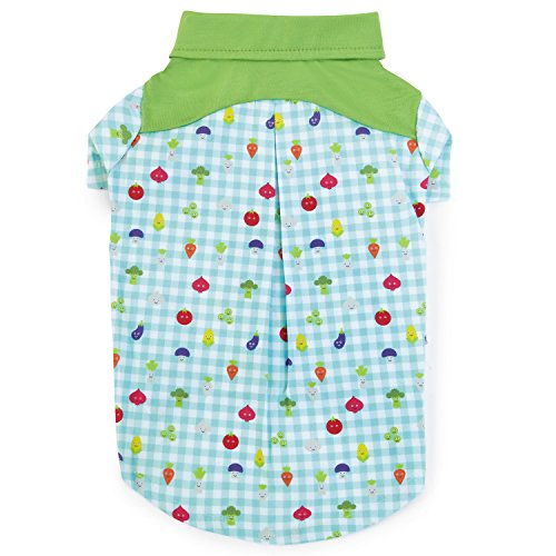 (Zack & Zoey Happy Veggies Camp Shirt for Dogs, Small, Green)