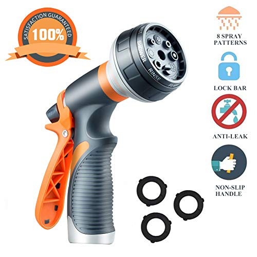 YINGSHENG Garden Water Hose Nozzle Sprayer: High-Pressure Water Hose Sprayer Gun, Thumb Control 8 Adjustable Watering Pattern