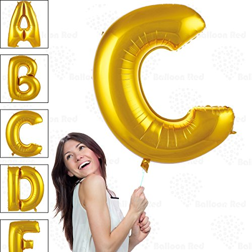 40 Inch Giant Jumbo Helium Glossy Gold Foil Mylar Balloons for Party Decorations, Letter C – Premium Quality, Durable & Reusable – Custom Messages – Graduation, Birthday, Anniversary, Bridal Shower
