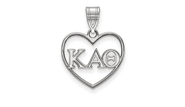 Sterling Silver Rh-plated LogoArt Kappa Alpha Theta Medium Pendant Sterling Silver
