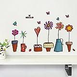 Zooarts Creative Colorful Maceta De Flor Y Mariposa extraíble Espacio Adhesivo de Pared Mural Adhesivos Vinilo decoración DIY Casa Salón Dormitorio