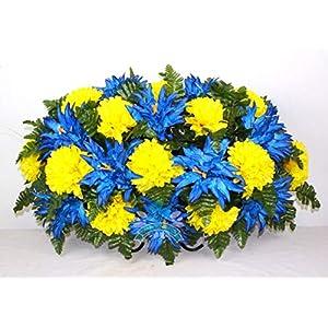 XL Spring Mixture Cemetery Saddle Flower Arrangement ... 37