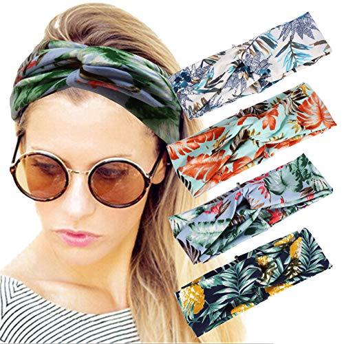 4 Pack Women Headband Boho Floal Style Criss Cross Head Wrap Hair Band set6