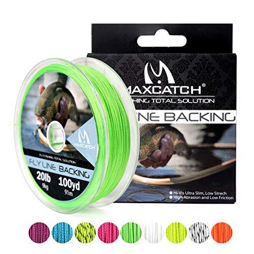 M MAXIMUMCATCH Maxcatch Braided Fly Line Backing for Fly Fishing 20/30lb(White, Yellow, Orange, Black&White, Black&Yellow) (Green, 20lb,100yards)