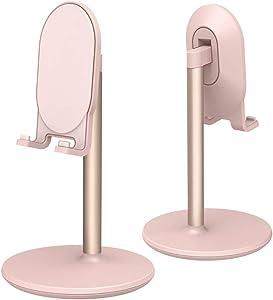 Phone Stand for Desk,Cell Phone Stand AdjustableDesk Phone Holder TabletHolder PhoneDock (Pink)
