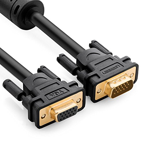 UGREEN VGA Extension Cable SVGA Male to Female HD15 Monitor Video Adapter Cable with Ferrite Cores Support 1080P Full HD for Laptop, PC, Projector, HDTV, Display and More VGA Enabled Devices 10FT