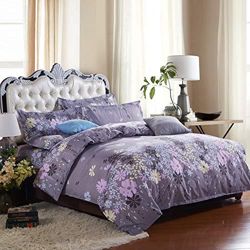 NOKOLULU Reversible Floral Pattern Duvet Cover Set Brushed Hypoallergenic Bedding Set with Zipper Closure(1 Duvet Cover + 2 Pillow Shams)(Queen,Purple)